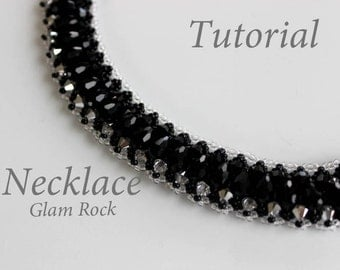 PDF tutorial beaded necklace Glam Rock_ seed beads_crystals_Swarovski beads_beadweaving_pattern