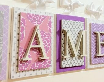 Nursery letters,purple gray and pink nursery decor, Custom Letters, Wooden letters for Nursery,Purple Nursery Letters,Girls Nursery Letters,