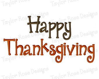 Happy Thanksgiving Machine Embroidery Design 4x4 5x7 6x10 INSTANT DOWNLOAD