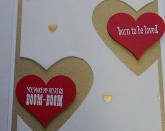 Handmade Boom-Boom Heart Valentine Card
