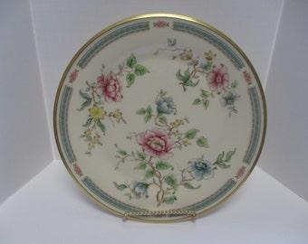 "Vintage Marked Lenox ""Morning Glory"" Floral & Gold Trim 10.5"" Dinner Plates ( 3 )."