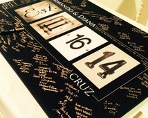 Wedding Guest Book Alternative // Numbers Art // Free Upgrade to Gallery Wrapped Canvas - Limited Time Only // Fits 55-350 Signatures