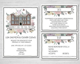 Printable Custom Illustrated Wedding Invitation - Hand drawn Venue flowers