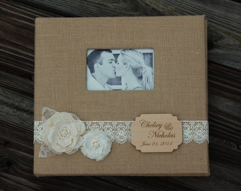 Rustic Wedding Photo Album / Rustic Photo Album / Shabby Chic Photo Album / Rustic Chic Photo Album / Burlap Photo Album/Rustic Chic Wedding