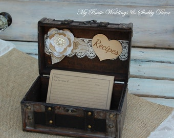 Rustic Recipe Box/ Recipe Box/Shabby Chic Recipe Box/Rustic Wedding Decor/ Shabby Chic Wedding Decor/ Rustic Bridal Shower Decor/Vintage Box