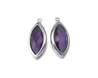 Amethyst Glass Pendant . Jewelry Craft Supplies . Polished Original Rhodium Plated over Brass  / 2 Pcs - CG035-PR-AM