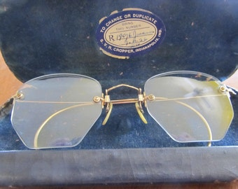 Women's 1940s 10k Gold Wire frame Geometric Glasses
