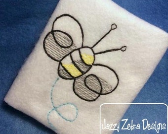 Bumble Bee Sketch Embroidery Design