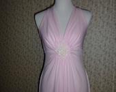 Vintage Pink Chiffon Maxi Dress SM MED / V Neck 1970s