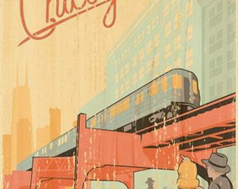 Chicago L Train Vintage Art Poster
