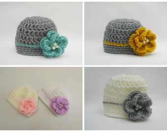 Newborn Flower Hat, Baby Girl Hat, Baby Hat, Newborn Hat,Grey,Aqua green,Flower,Baby Girl Prop,Newborn Girl Props CHOOSE COLOUR SIZE