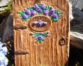 """Fairy Door with Roses,Fantasy Fairy Door,Lavender Rose Fairy Door,""""Fairy Land"""" Plaque Door  Hand Cast Stone"""