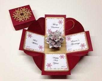 Kusudama Ornament Kusudama Flower Ball Exploding Box Gift Magic Card Exploding Box Kusudama Ornament Red Gold Ornamant