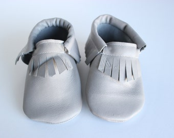 Baby and Toddler Moccasin- Light Grey Leather
