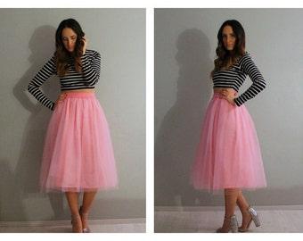 Pink tulle skirt, tulle skirt, tea length tulle skirt, plus size tulle skirt, adult tulle skirt, bridesmaids tulle skirt, women tulle skirt.