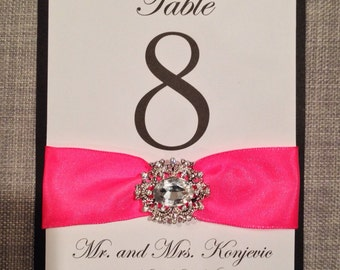 Bling Table Number Signs - Large Rhinestone Brooch