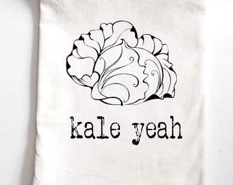 Kitchen Towel Kale Yeah Printed Tea Towel, Flour Sack Towel, Funny Gift, Housewarming Gift Tea Towel