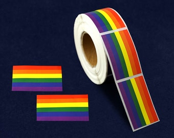 500 Rectangle Rainbow Awareness Stickers - 500 Stickers (ST-06-RB)