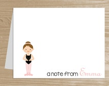 Personalized Kids' Note Cards - Set of 10 Ballerina Notecards for Girls - Folded Note Cards with Envelopes - Custom Ballet Notecards