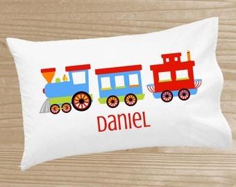 Personalized Kids' Pillowcase - Train Pillowcase for Boys - Train Pillow Case - Custom Train Pillow Slip