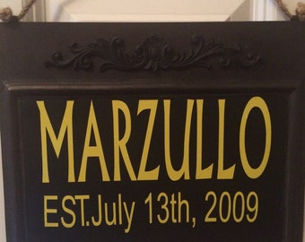 Metal last name sign with establised date-customized and personalized