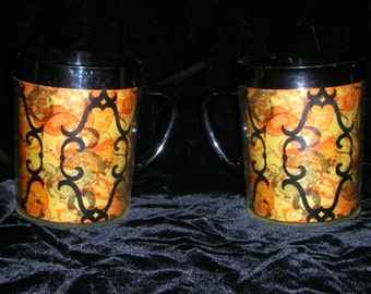 West Bend 70's Gold, Black & Orange Thermo-Serve Mugs Abstract Scroll Pattern