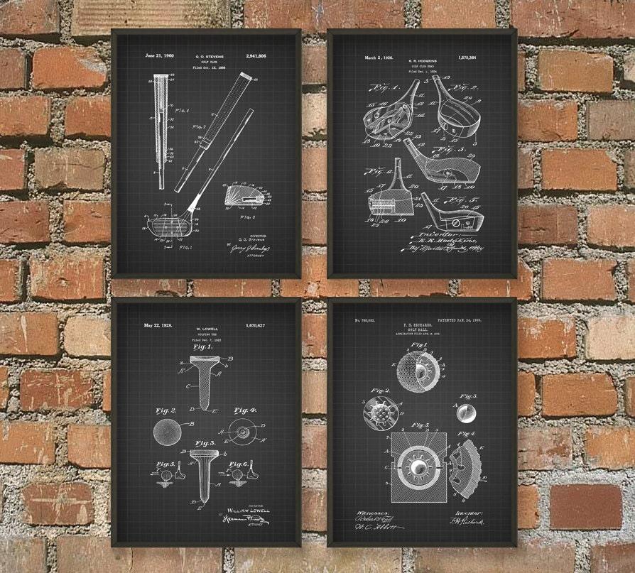 golf patent wall art poster set of 4 pga golf home decor. Black Bedroom Furniture Sets. Home Design Ideas