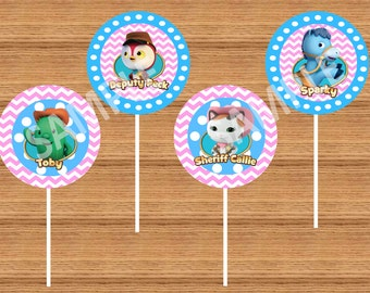 INSTANT DOWNLOAD - Printable Sheriff Callie Cupcake Toppers with Sheriff Callie, Sparky, Toby and Peck