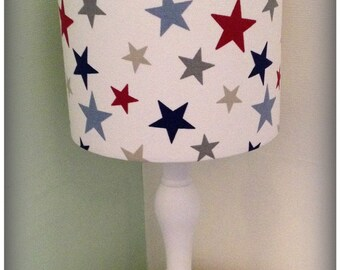 Handmade Blue and Red Star Fabric Drum Lampshade lightshade