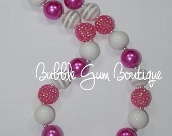Pink and White Bubble Gum Necklace