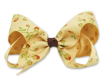 Brown Boutique bow,Big Hair Bow, Vintage brown floral,  Floral Hair Bow