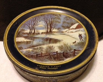 Vintage Currier and Ives Tin