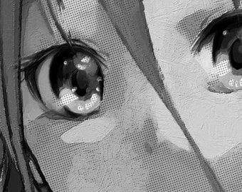 Anime Girl Eyes Black and White - Giclee Print