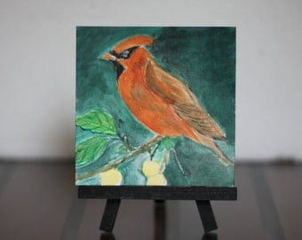Cardinal bird acrylic painting on magnetic canvas 4x4 in