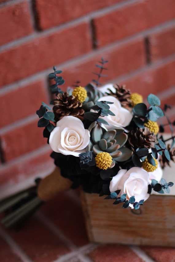 Rustic Wedding Mini Bouquet with Succulents Roses by ...