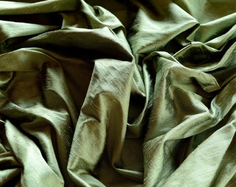 "Iridescent Sage Green Dupioni Silk, 100% Silk Fabric, 44"" Wide, By The Yard (S-222)"