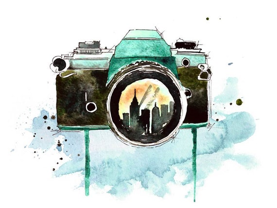 Through the lens watercolor painting print art piece for Camere dwg