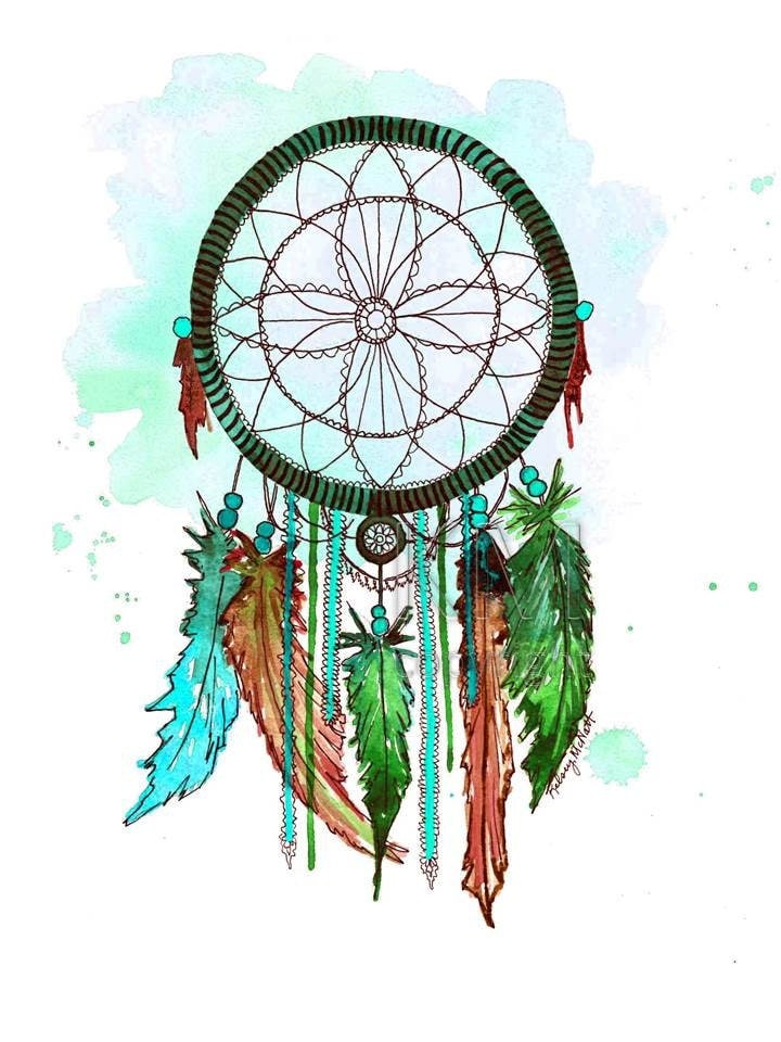 Dream Catcher 6 Print of Original Watercolor Painting