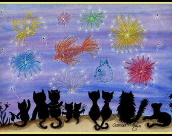 Kitty Celebration, Fireworks, 4th of July, silhouette card or print, Watercolor, Item #0218a
