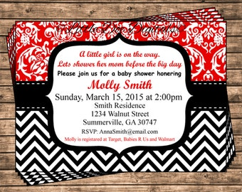 Personalized Red Damask and Black Chevron Baby Shower Invitation - Printable Digital File