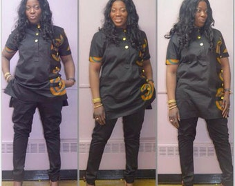 Desire Cotton Skinny Pants and Ankara Top