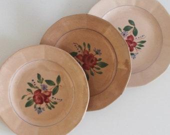 Set of 3 SARREGUEMINES pink plates // Handpainted // C041
