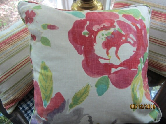"Set of two colorful floral decorator fabric corded 20"" throw pillow white pink red purple green"