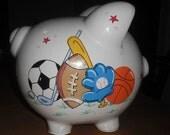 Personalized Boys Sports Piggy Bank with Golf - Medium