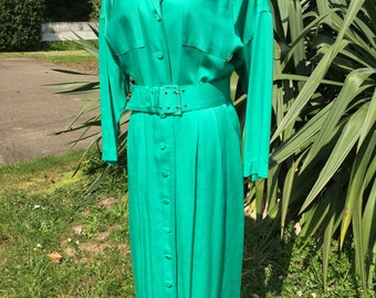 Beautiful green vintage dress, buttons down front, matching belt, pockets on bodice, by Rabbit Rabbit Rabbit.