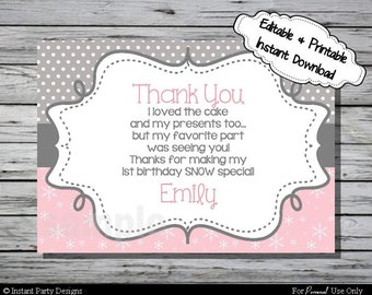 Winter Wonderland Thank You Card Birthday Party- Editable Printable Digital File with Instant Download