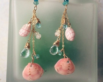 Pink bubble shell and apatite earrings