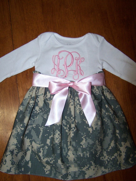 Army baby dress monogrammed
