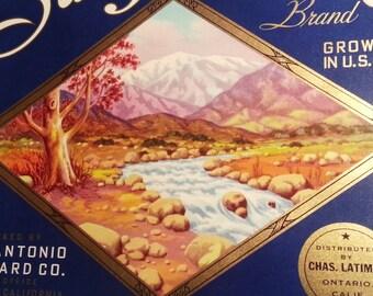 San Antonio Original Vintage 1930's Orange Crate Label San Antonio Orchard Ontario, California
