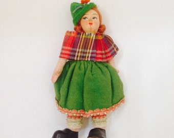 Vintage Cloth Doll from Scotland, Scottish Doll